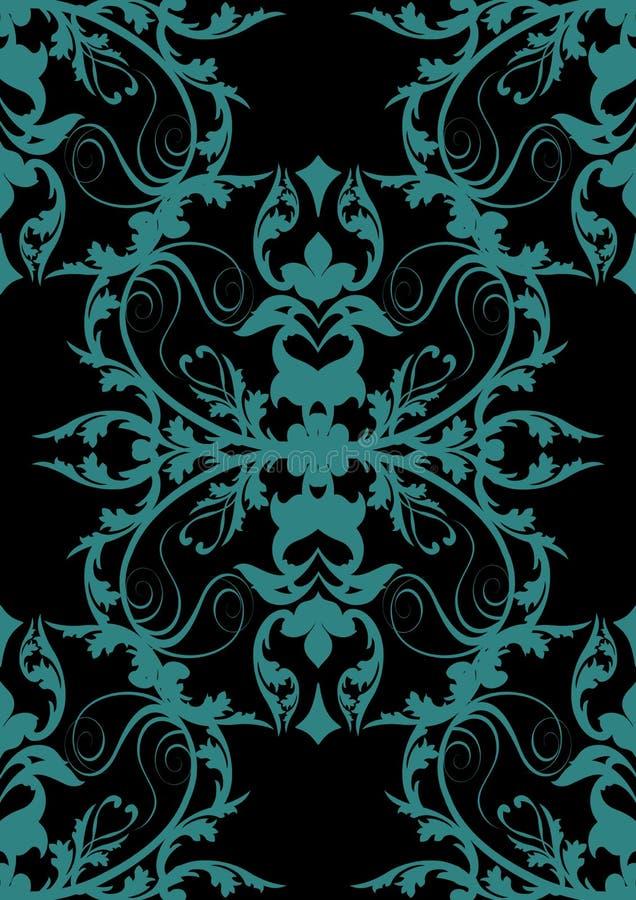 Disegno barrocco blu sul nero royalty illustrazione gratis