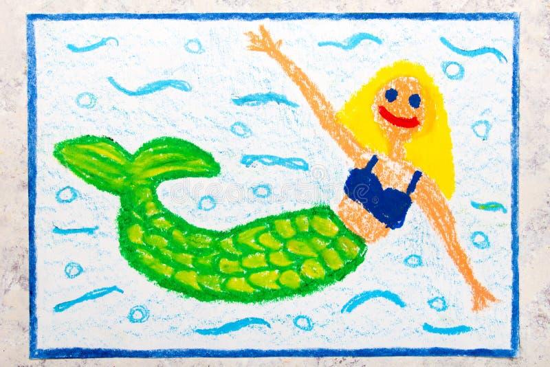 Disegno: Bella sirena con la coda verde fotografia stock libera da diritti