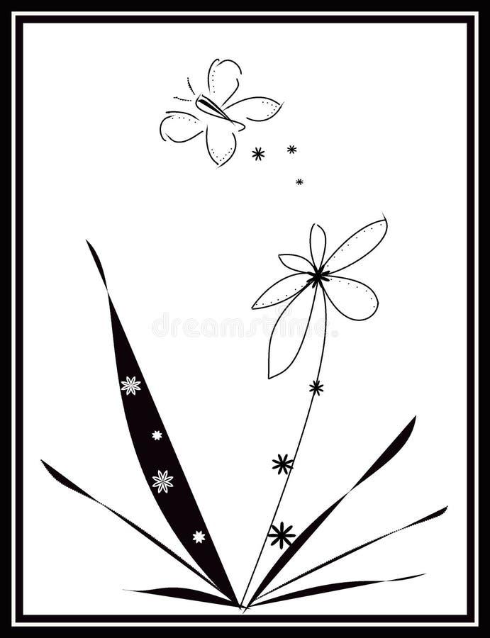 Disegno in bianco e nero della farfalla fotografia stock