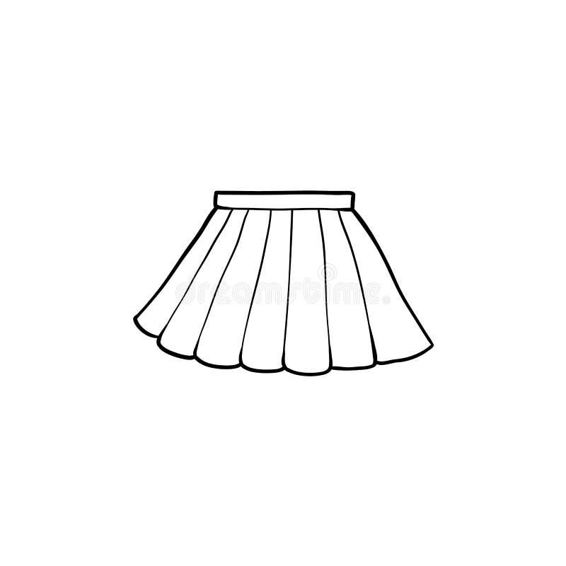 Disegno in bianco e nero di mini gonna pieghettata royalty illustrazione gratis