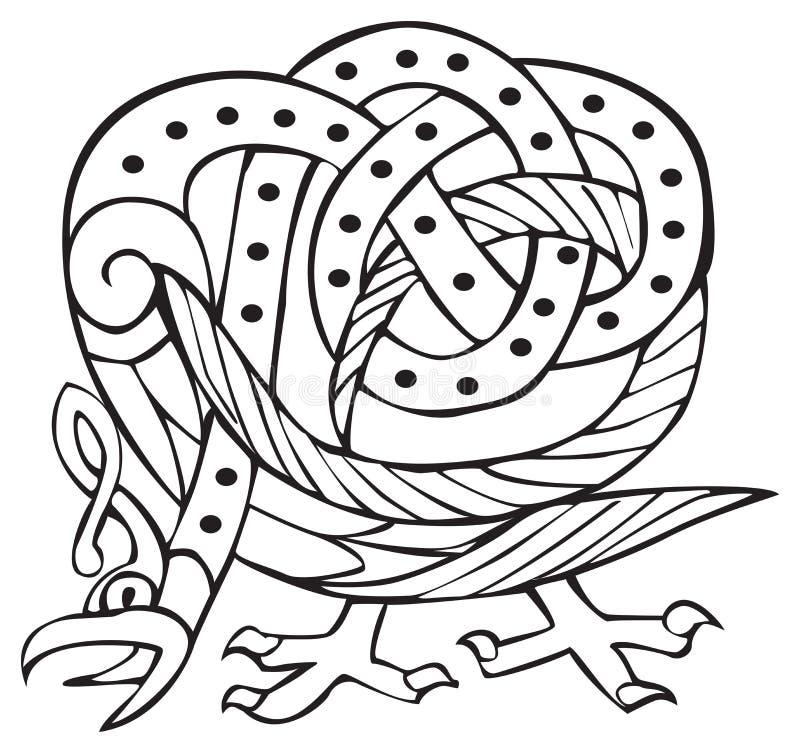 Disegno celtico con le righe annodate di uccello illustrazione vettoriale