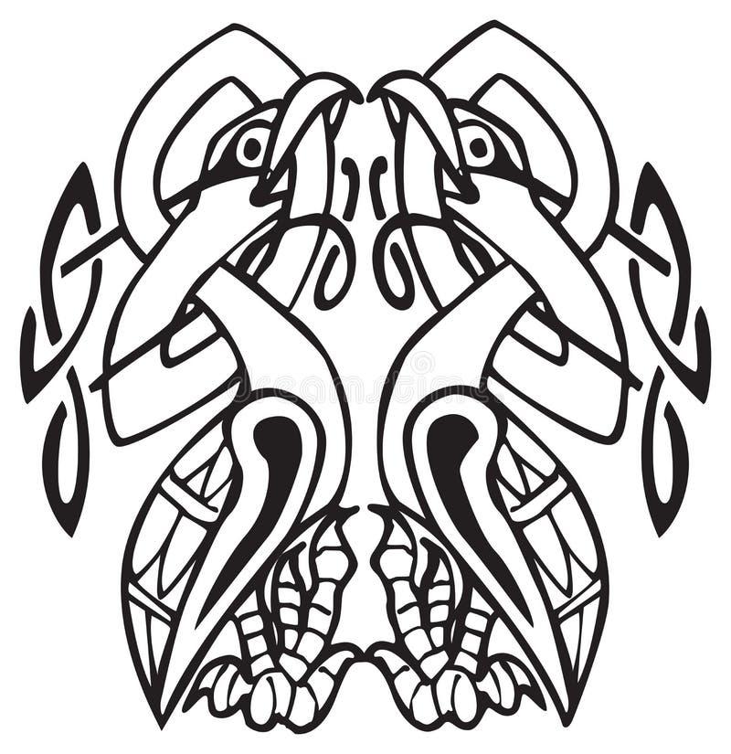 Disegno celtico con lle righe annodate di due uccelli illustrazione vettoriale