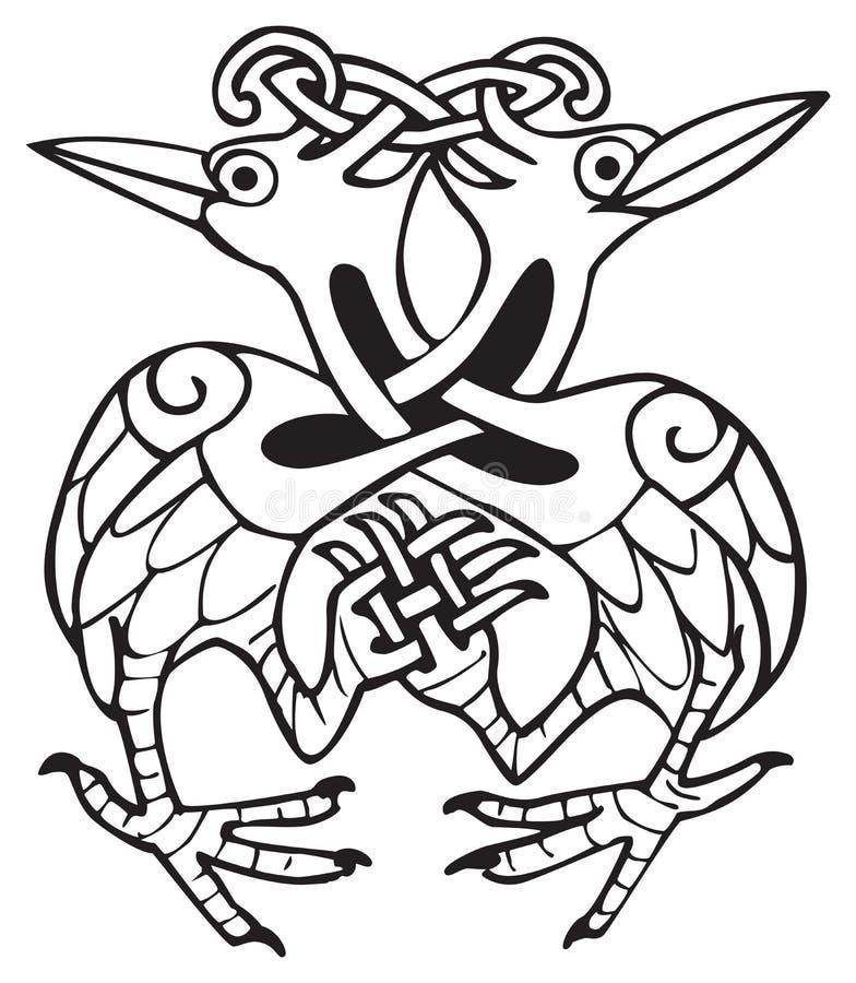 Disegno celtico con lle righe annodate di due uccelli della colomba illustrazione vettoriale