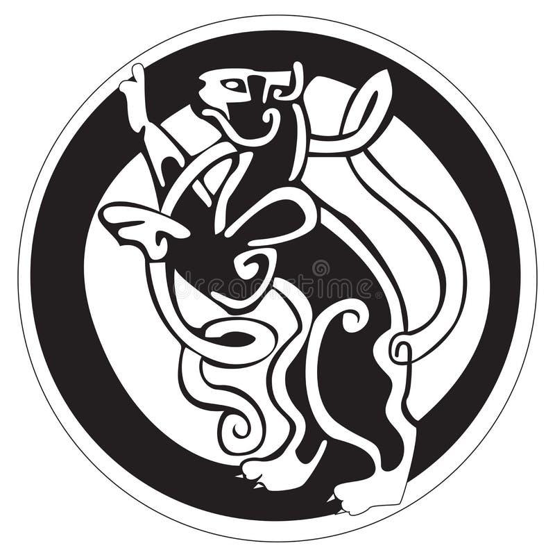 Disegno celtico di un gatto all'interno di un cerchio illustrazione vettoriale