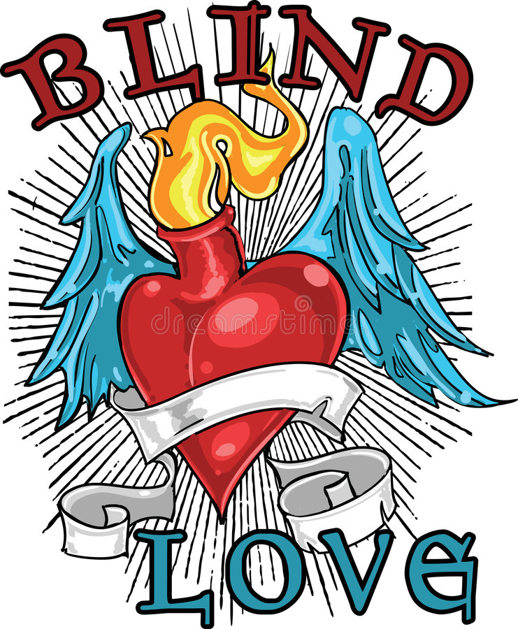 Disegno cieco della maglietta di amore illustrazione di stock