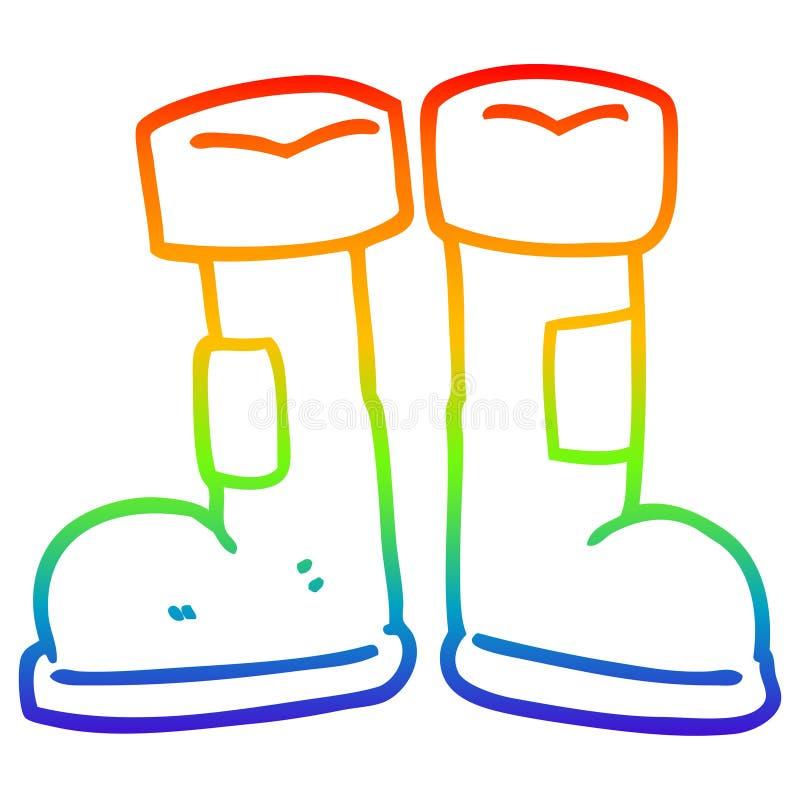 Disegno con gradiente a gradiente di arcobaleno creativo su wellington boot illustrazione di stock