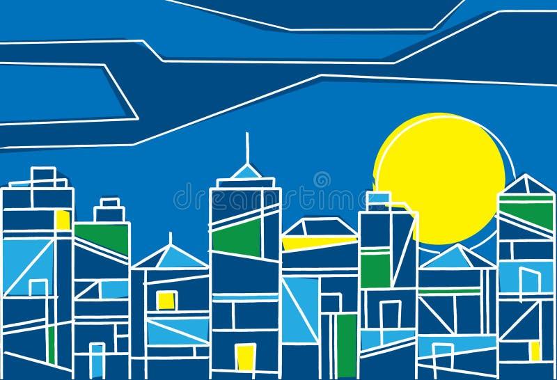 Disegno contemporaneo di una città alla notte royalty illustrazione gratis
