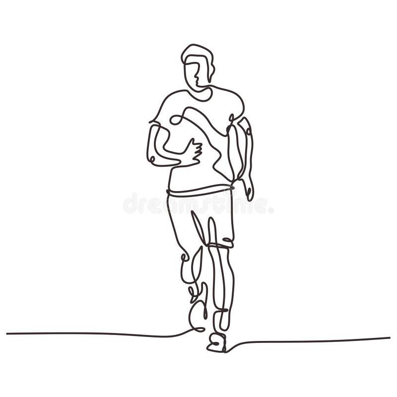 Disegno continuo di una linea dell'uomo in funzione Persona che corre per strada Design a tema per sport illustrazione vettoriale fotografia stock libera da diritti