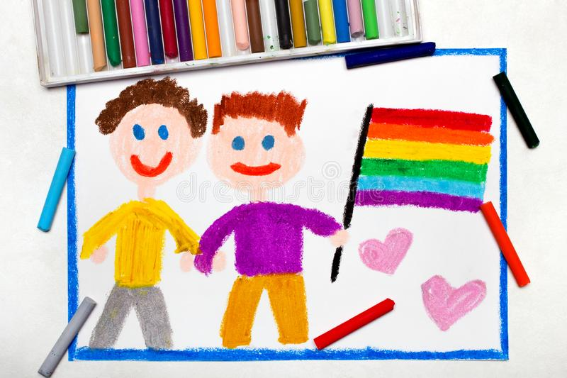 Disegno: Coppie gay felici con la bandiera del lgbt illustrazione vettoriale