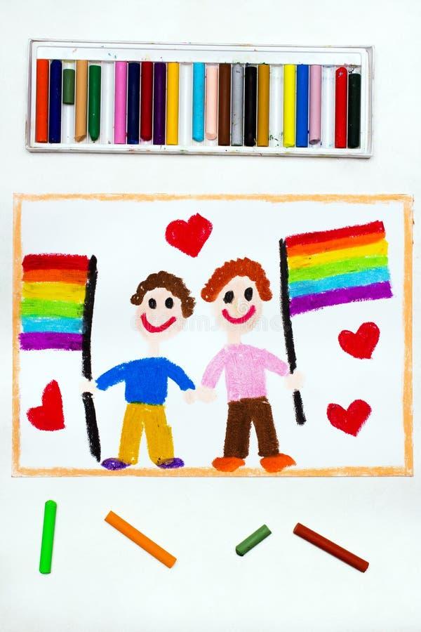Disegno: Coppie gay felici con la bandiera del lgbt royalty illustrazione gratis