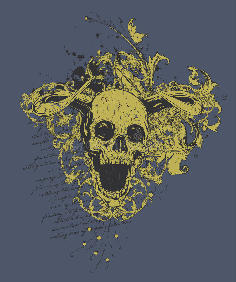 Disegno cornuto diabolico del cranio   royalty illustrazione gratis