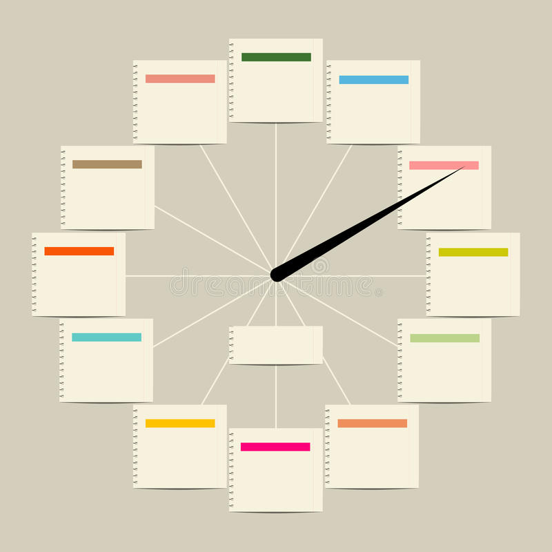 Disegno creativo dell'orologio con gli autoadesivi per il vostro testo royalty illustrazione gratis