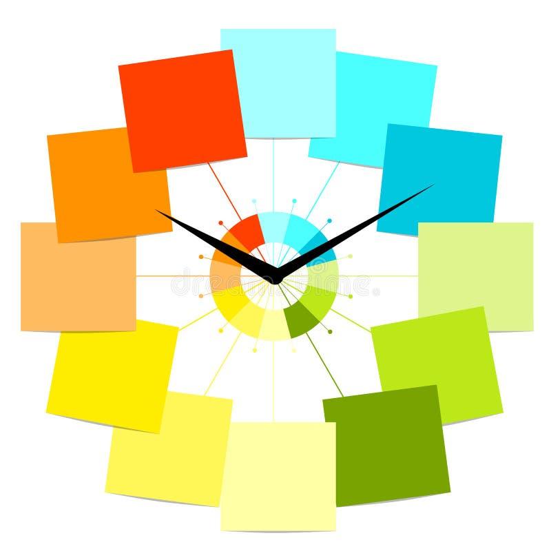 Disegno creativo dell'orologio con gli autoadesivi per il vostro testo illustrazione vettoriale