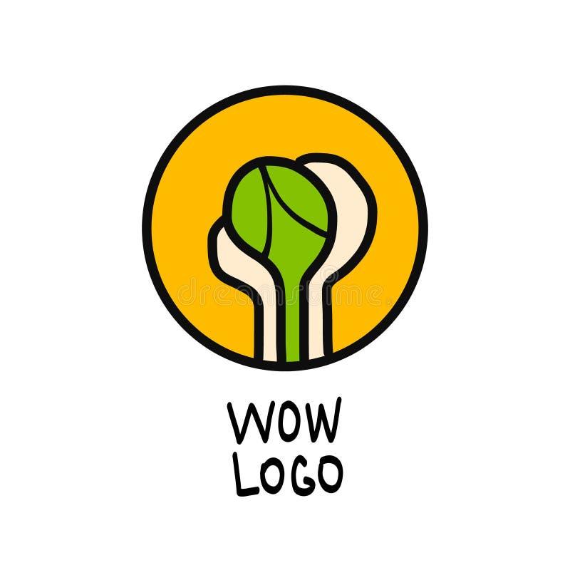Disegno creativo Rappresentazione grafica simbolica di vettore della pianta Germoglio verde in mani marchio illustrazione vettoriale