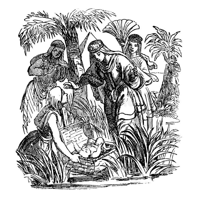 Disegno d'annata della storia biblica circa Mosè il bambino è stato trovato ed adottato stato da principessa egiziana illustrazione di stock