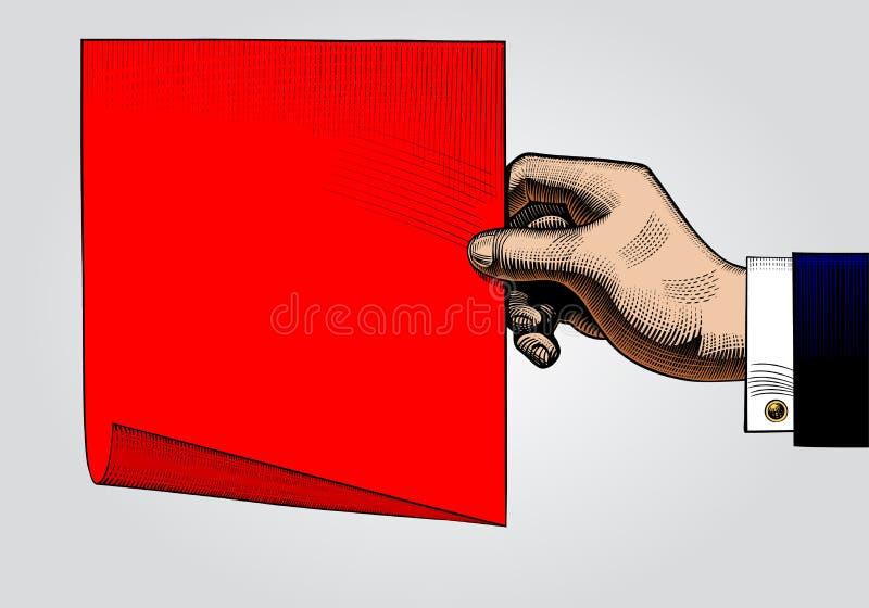 Disegno d'annata di colore della mano con uno strato di carta rosso illustrazione di stock