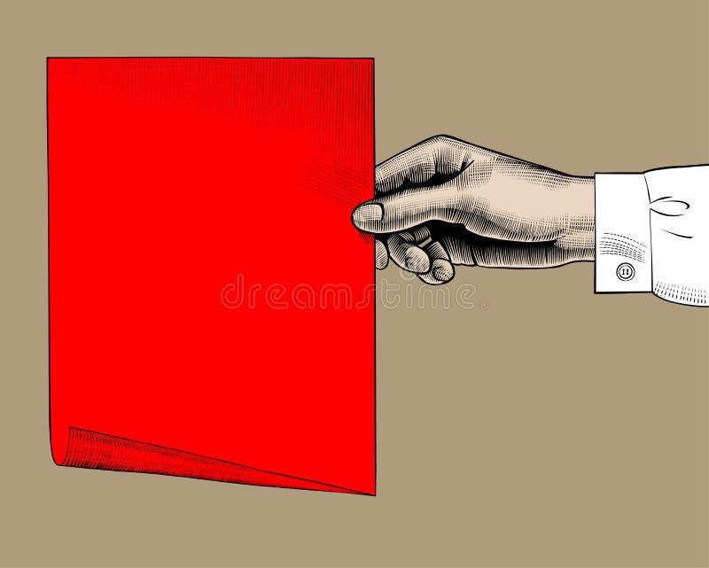 Disegno d'annata di colore della mano del ` s della donna con uno strato di carta rosso illustrazione di stock
