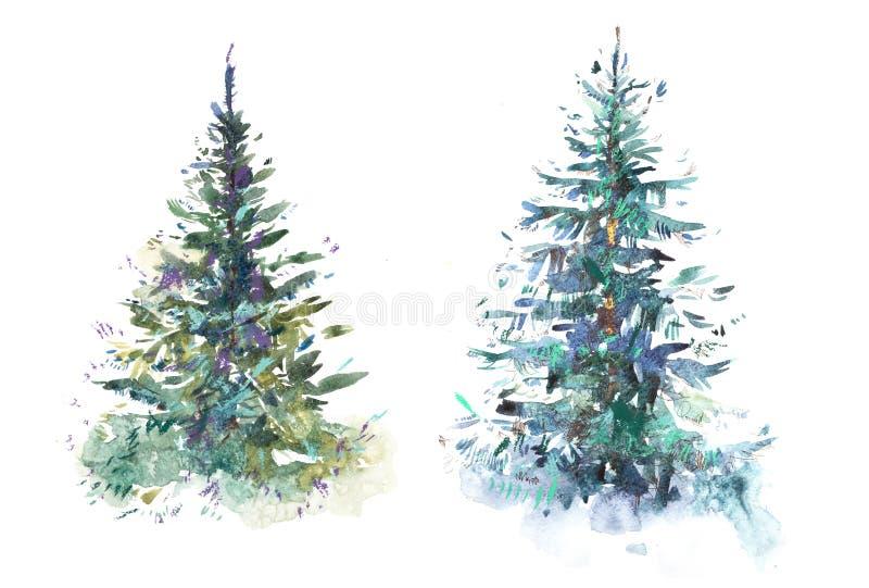 Disegno decorato di colore di acqua dell'illustrazione dell'acquerello del nuovo anno dell'albero di Natale fotografie stock libere da diritti