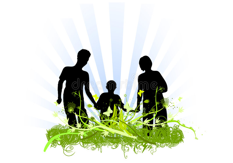 Disegno degli ornamenti di amore della famiglia illustrazione di stock
