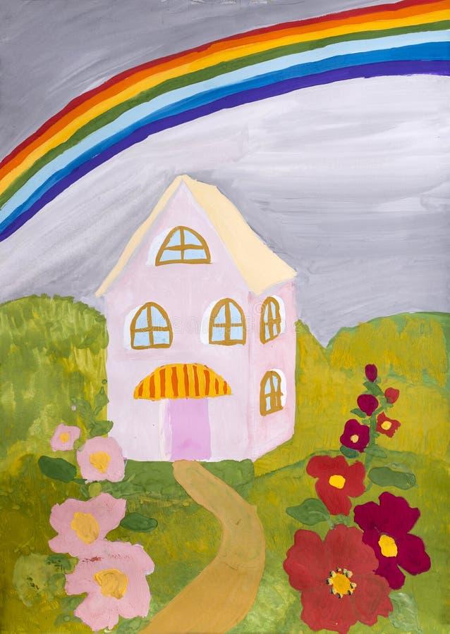 Disegno dei bambini & x22; Camera con un rainbow& x22; royalty illustrazione gratis