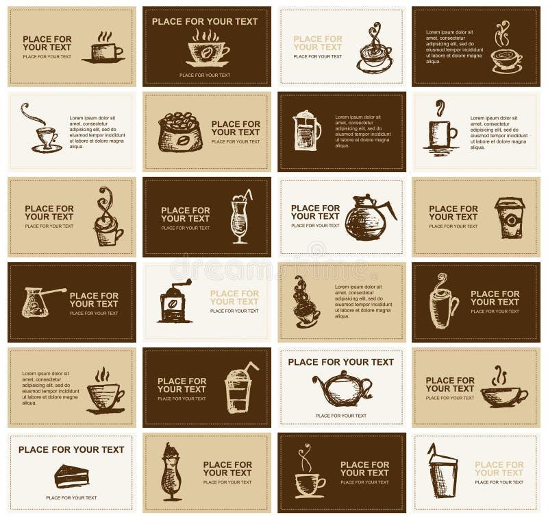 Disegno dei biglietti da visita per l'azienda del caffè royalty illustrazione gratis