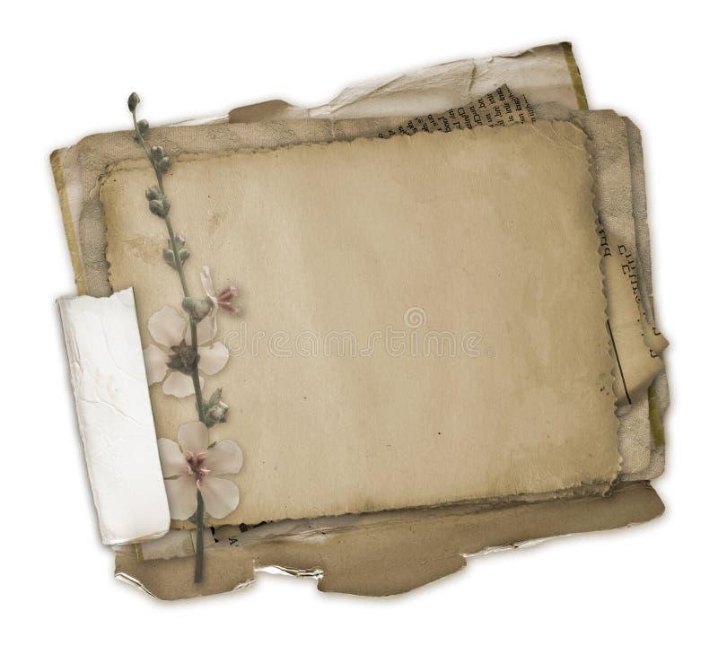 Disegno dei documenti di Grunge nello scrapbooking illustrazione vettoriale