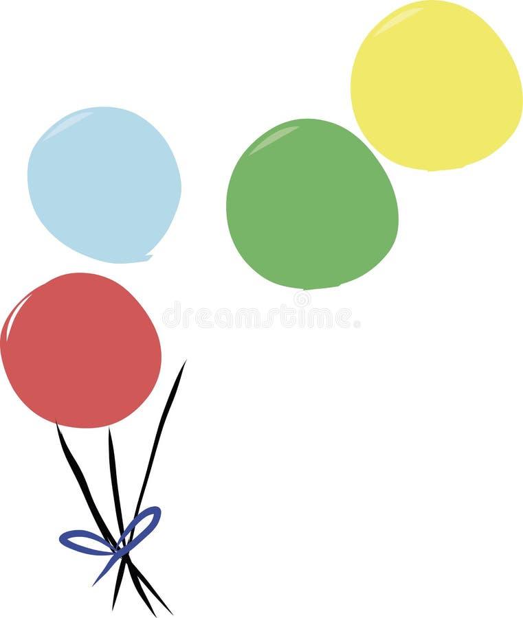 Disegno dei palloni che sfuggono a dal loro mazzo illustrazione vettoriale