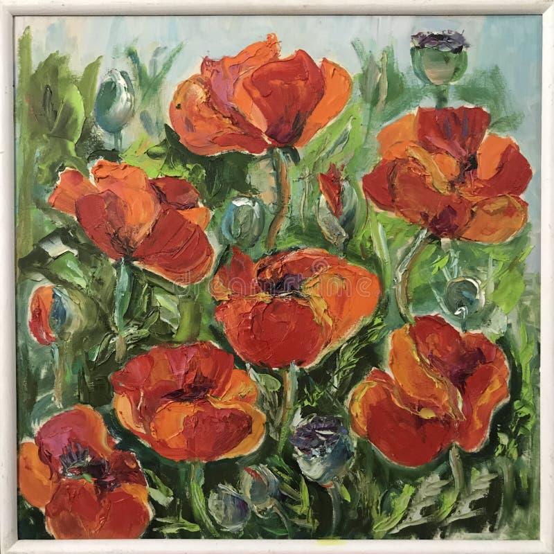 Disegno dei petali soleggiati luminosi del papavero dei fiori illustrazione di stock