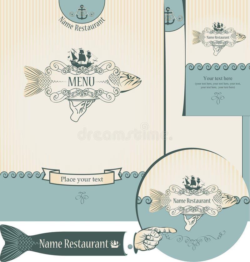 Disegno dei ristoranti dei pesci illustrazione vettoriale