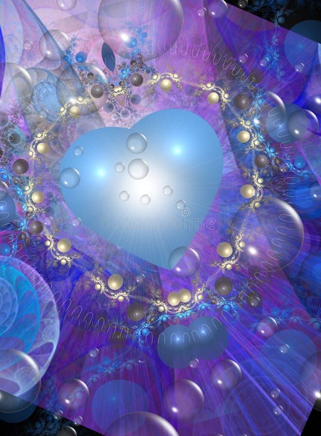 Disegno del biglietto di S. Valentino in azzurri illustrazione di stock