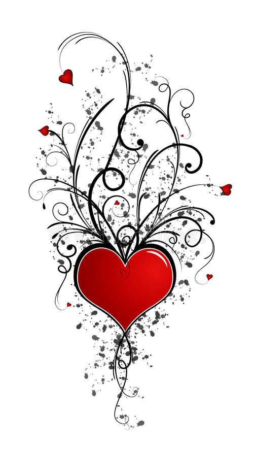 Disegno del biglietto di S. Valentino (incl di vettore) immagini stock libere da diritti