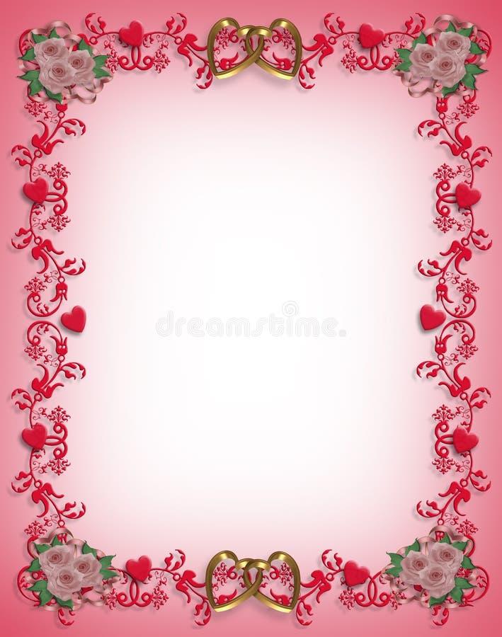 Disegno del bordo dei cuori del biglietto di S. Valentino illustrazione di stock