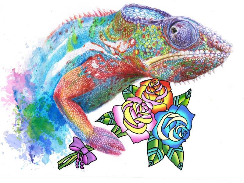 Disegno del camaleonte con le rose royalty illustrazione gratis