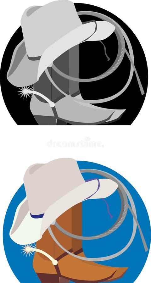 Disegno del cappello e dei caricamenti del sistema del cowboy royalty illustrazione gratis