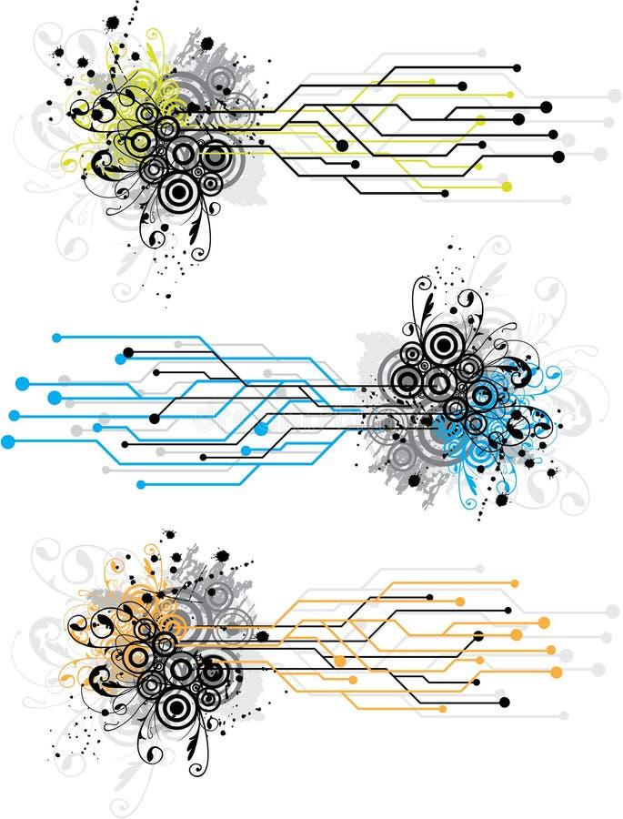 Disegno del circuito di Grunge illustrazione di stock