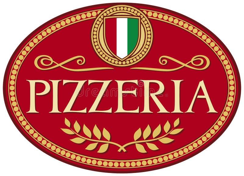 Disegno del contrassegno della pizzeria illustrazione di stock