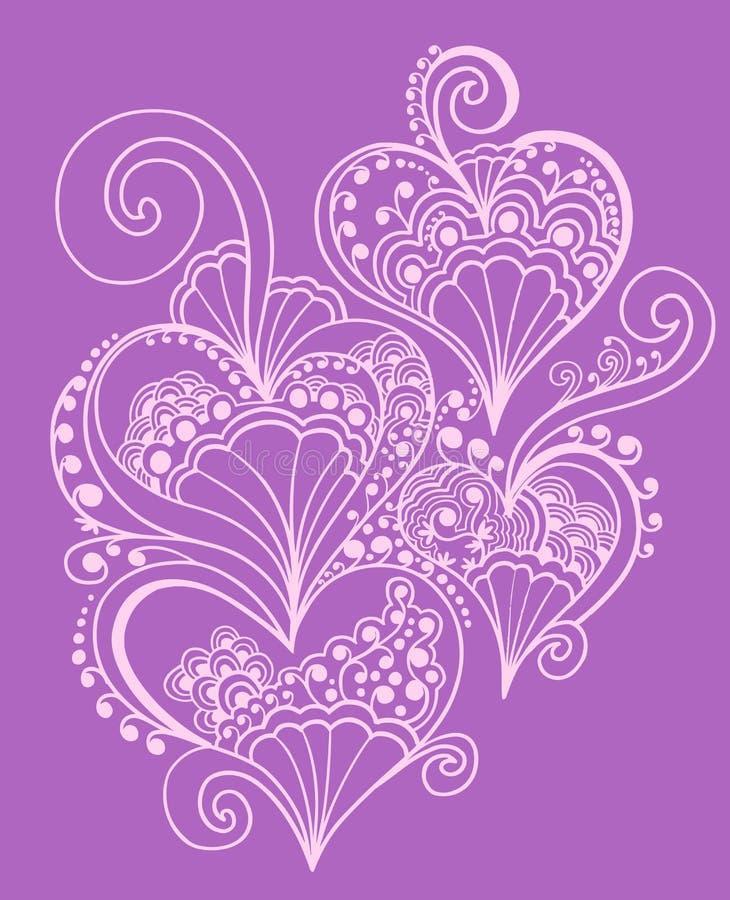 Disegno del cuore di doodle del hennè royalty illustrazione gratis