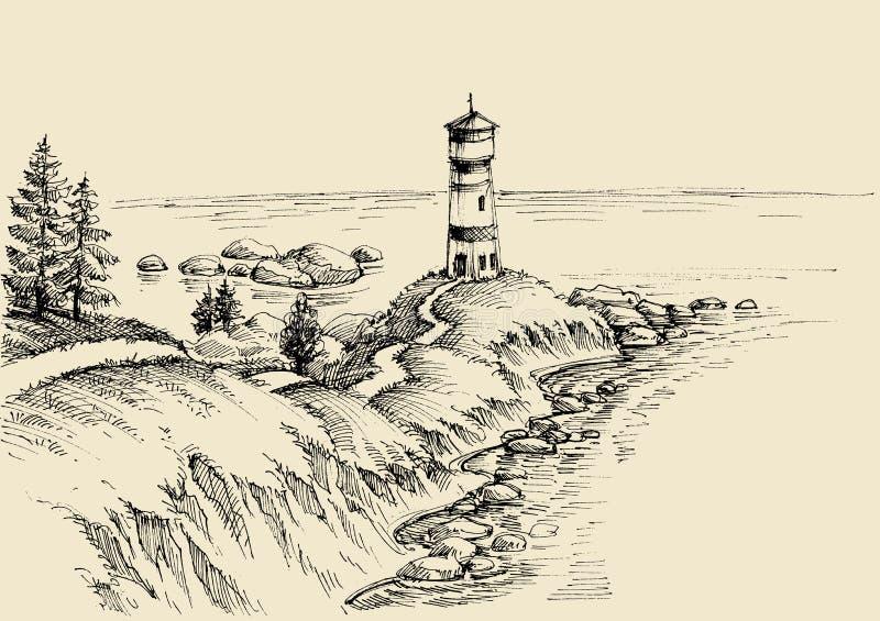 Disegno del faro e della spiaggia illustrazione di stock