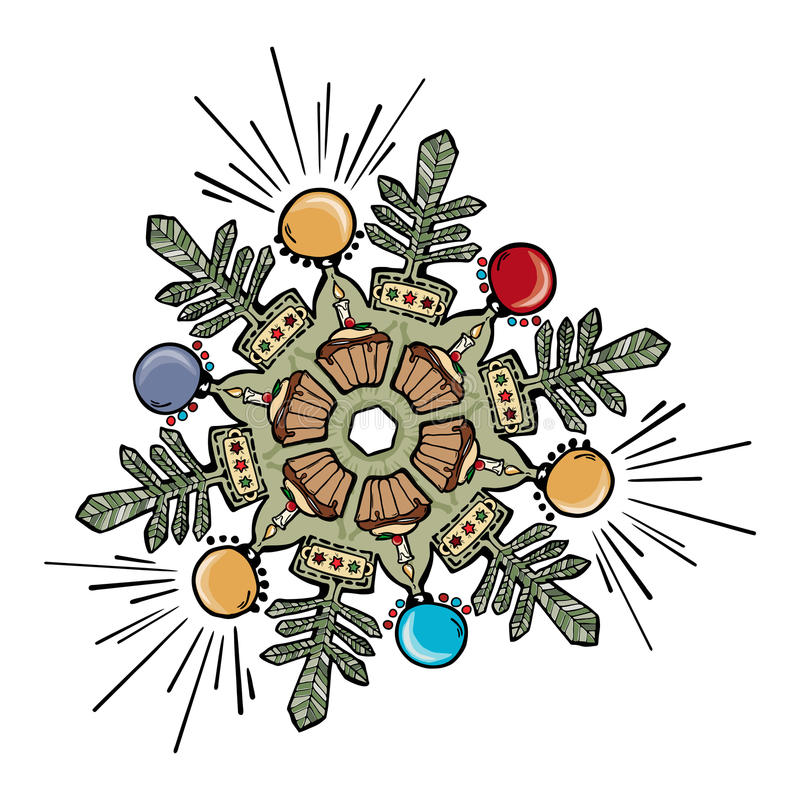Disegno del fiocco di neve di natale royalty illustrazione gratis