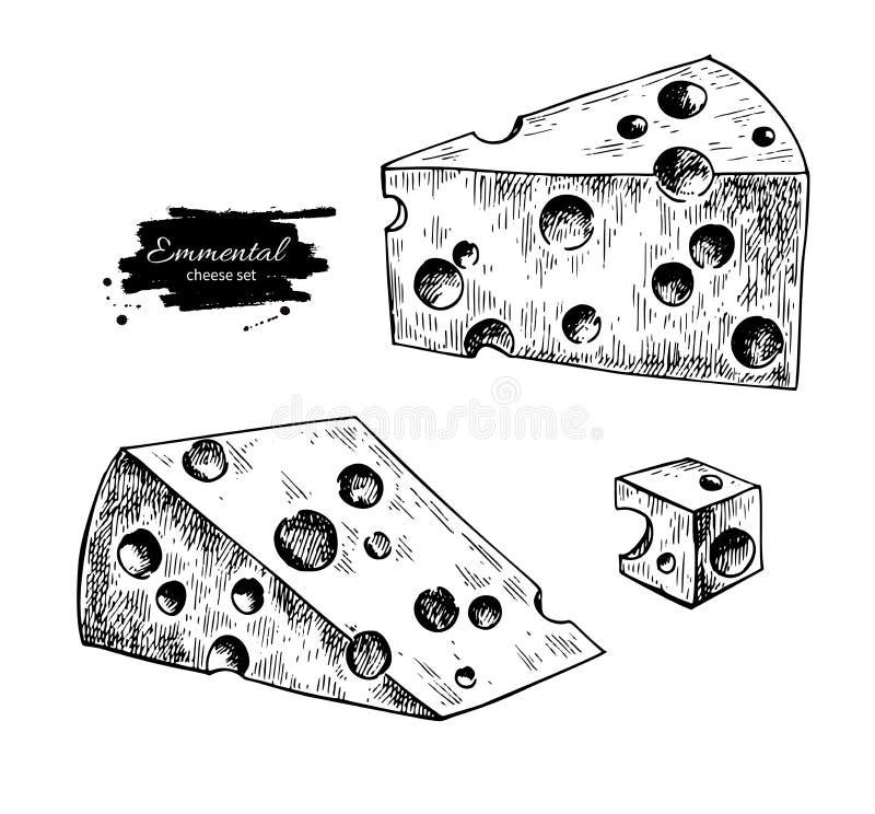 Disegno del formaggio dell'emmental Schizzo disegnato a mano dell'alimento di vettore Fetta del triangolo e taglio incisi del cub illustrazione vettoriale