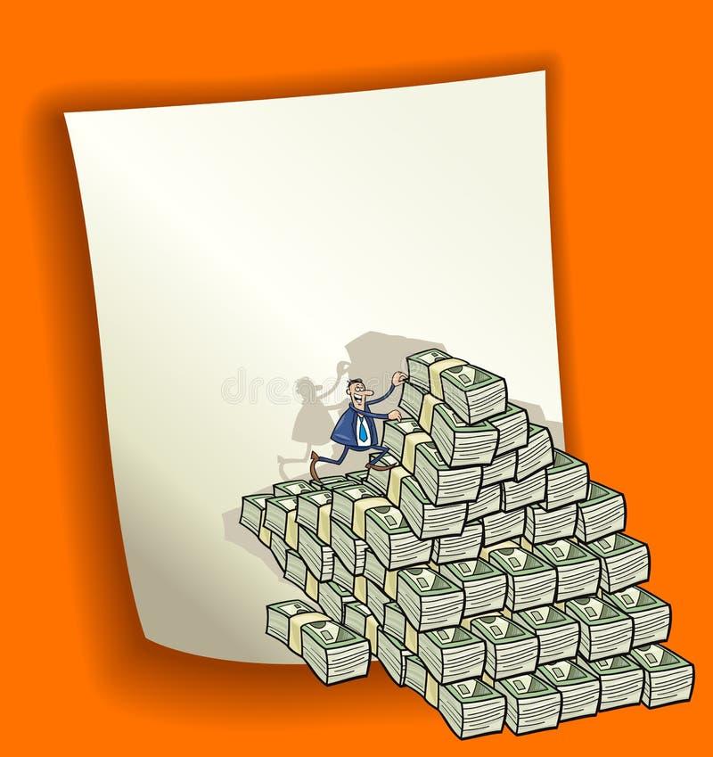 Disegno del fumetto con il mucchio di soldi illustrazione di stock