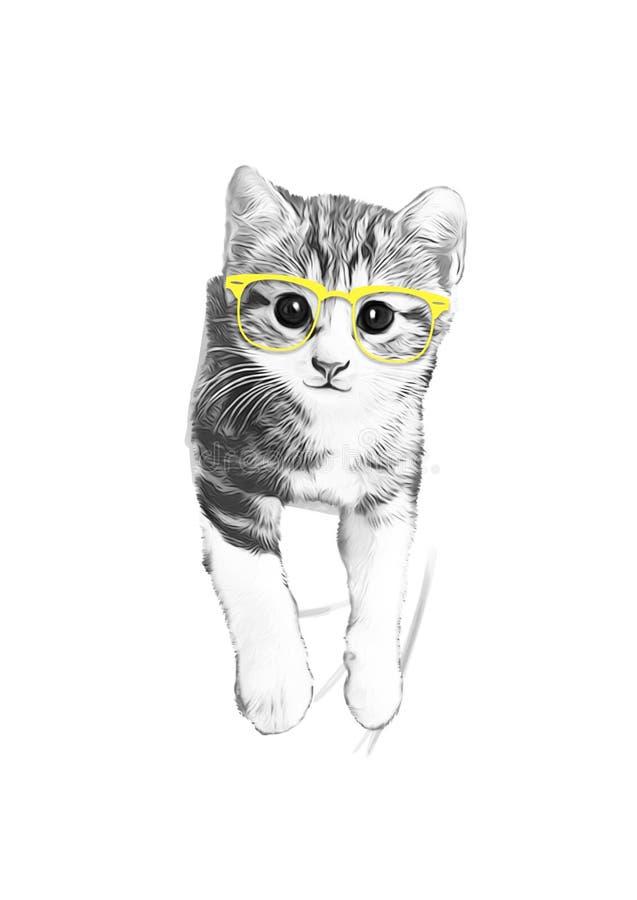 Disegno del gatto con i vetri fotografie stock libere da diritti