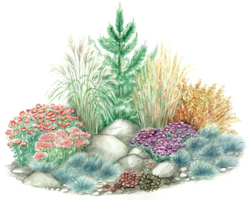 Disegno del giardino del Rockery illustrazione di stock