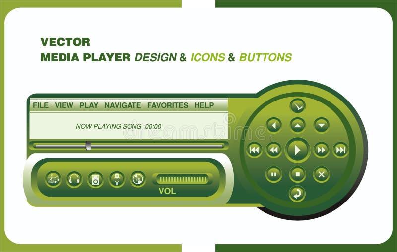Disegno del giocatore di Complet con le icone & i tasti del menu illustrazione vettoriale