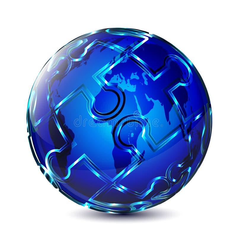 Disegno del globo di puzzle illustrazione di stock