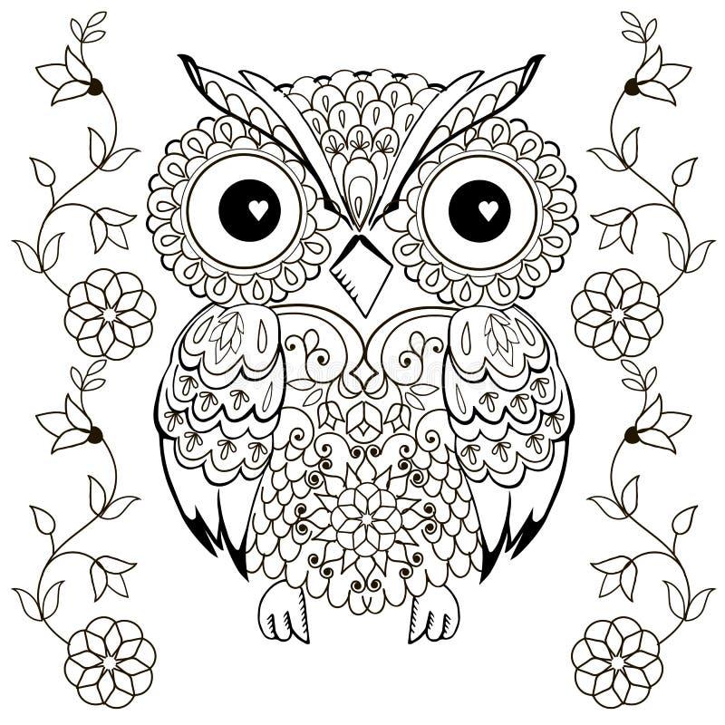 Disegno del gufo per la coloritura antistress fotografie stock libere da diritti