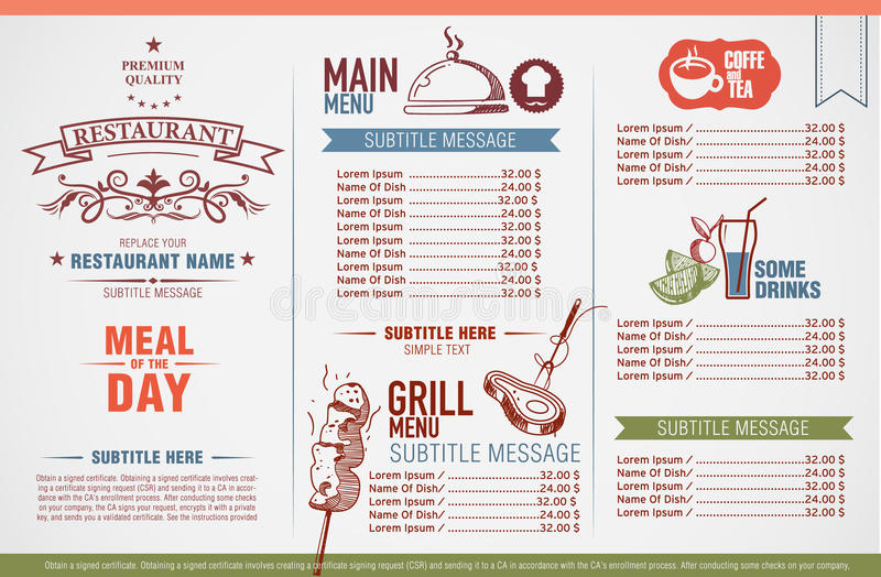 Disegno del menu del ristorante immagine stock