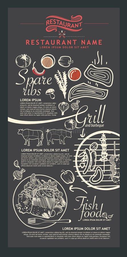 Disegno del menu del ristorante illustrazione vettoriale