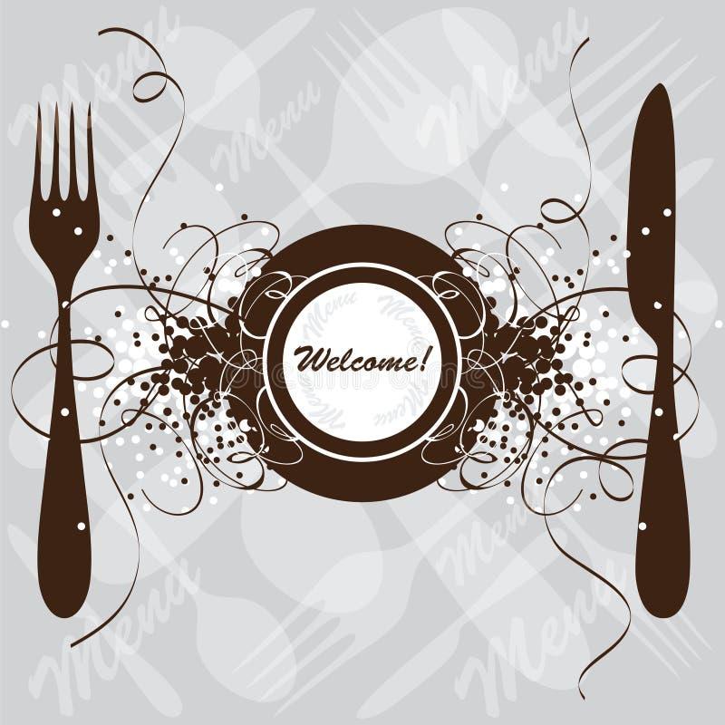 Disegno del menu del ristorante, modello illustrazione di stock