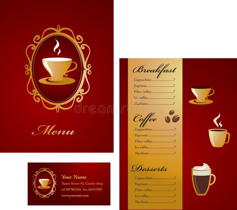 Disegno del modello del biglietto da visita e del menu - caffè royalty illustrazione gratis